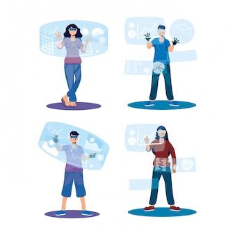 Menschen, die augmented reality-technologie verwenden