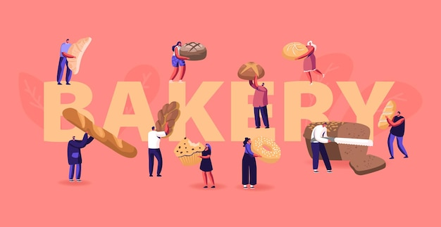 Menschen, die bäckereikonzept essen und kochen. karikatur flache illustration