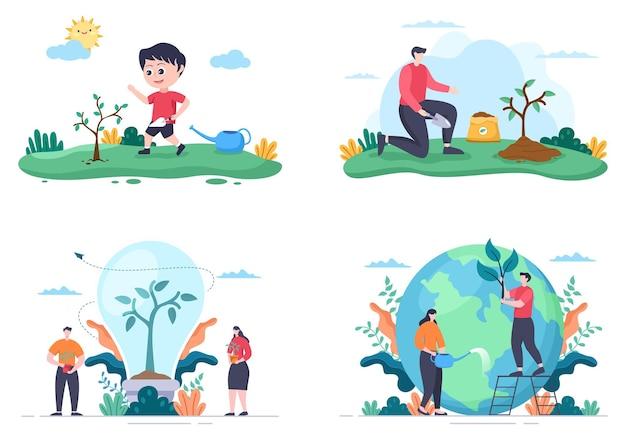 Menschen, die bäume pflanzen, flache cartoon-vektor-illustration mit gartenarbeit, landwirtschaft und landwirtschaft, verwenden baumwurzeln oder eine schaufel für ein umweltbewusstes konzept