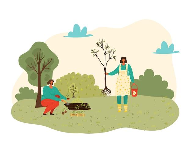 Menschen, die bäume, pflanzen und gartenarbeit an der natur pflanzen, frauen mit werkzeugen im garten isolierte illustration.