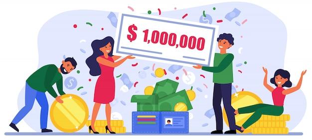 Menschen, die bei einer lotterie eine millionenrechnung gewinnen