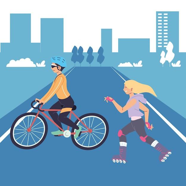 Menschen, die bewegung im stadtdesign machen, bleiben gesunder sport und aktivitäten im freien