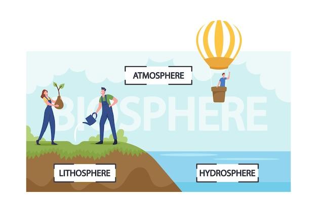Menschen, die biosphären-infografiken präsentieren. erdökosystem atmosphäre, lithosphäre und hydrosphäre. winzige männliche und weibliche charaktere, die pflanzen gießen, auf luftballon fliegen. cartoon-vektor-illustration
