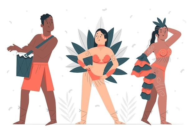 Menschen, die brasilianische karnevalskonzeptillustration feiern