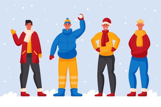 Menschen, die bunte kuschelige winterkleidung tragen