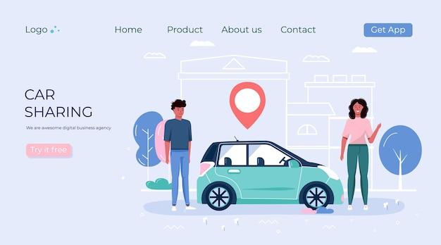 Menschen, die carsharing- und mietservice nutzen. layout für mobile landingpage-app für online-carsharing- und fahrgemeinschaftsreisen mit routen- und punktposition auf einem stadtplan. transportvektorkonzept