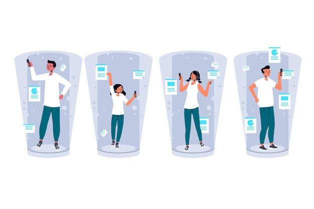 Menschen, die die dokumentierte realität auf smartphones nutzen
