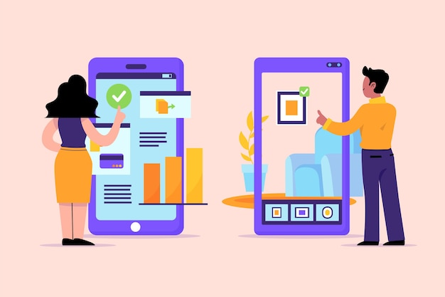 Menschen, die die dokumentierte realität auf smartphones nutzen Premium Vektoren