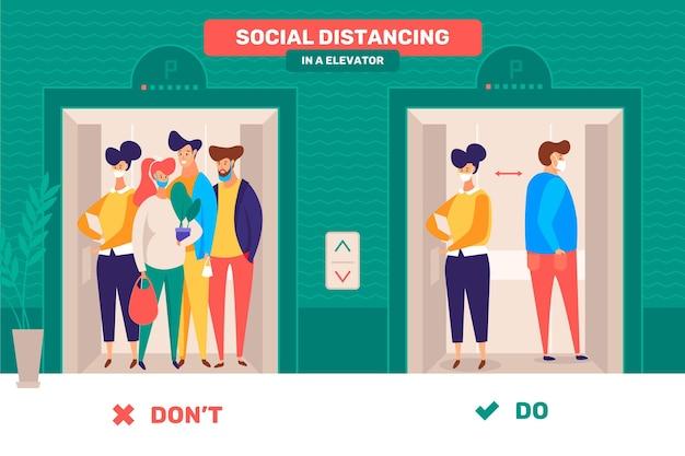 Menschen, die die soziale distanz in aufzügen respektieren Premium Vektoren