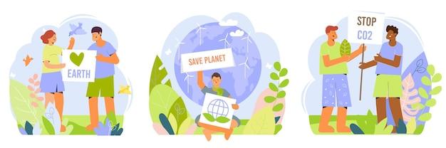 Menschen, die die umwelt unterstützen