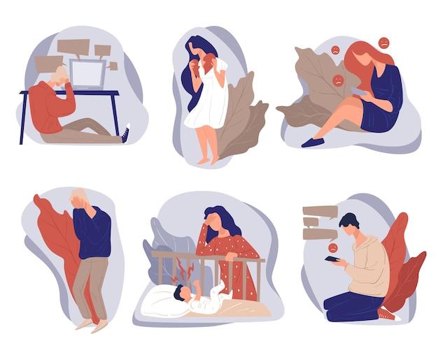 Menschen, die durch routine oder arbeit gestresst sind, isolierte charaktere, die online chatten und beunruhigende nachrichten erhalten. verzweiflung und postnatale depression, frustration und traurigkeit, einsamkeit des menschenvektors im flachen stil