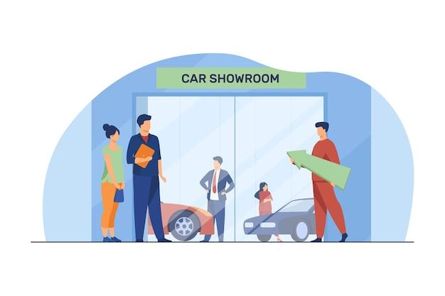 Menschen, die ein auto wählen und kaufen. autoausstellungsraum, kunde, verkäufer flache vektorillustration. fahrzeugkauf, probefahrt, transport