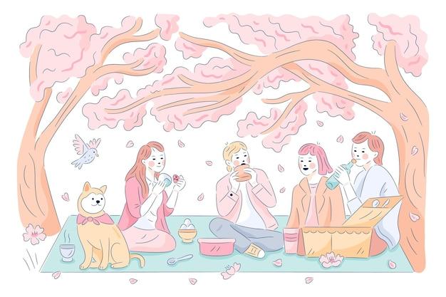 Menschen, die ein picknick hanami sakura festival genießen