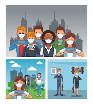 Menschen, die eine medizinische maske und smartphones tragen, bleiben in verbindung