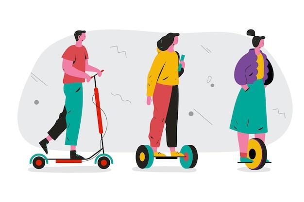 Menschen, die elektrische transportsammlung fahren