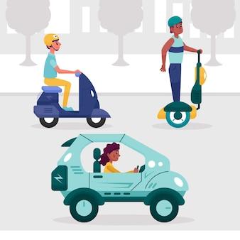 Menschen, die elektrofahrzeuge fahren