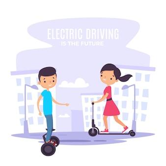 Menschen, die elektrotransport fahren