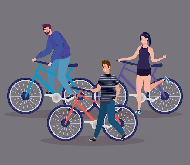 Menschen, die fahrraddesign, fahrzeugfahrrad und lifestyle-thema fahren.