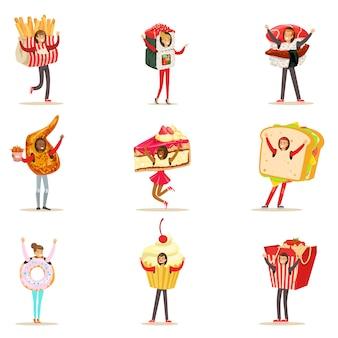 Menschen, die fast-food-snacks-kostüme tragen, die als cafe-menüpunkte verkleidet sind sammlung von zeichentrickfiguren