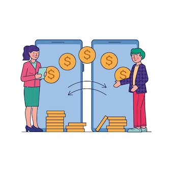 Menschen, die finanztransaktionen über die mobile app tätigen