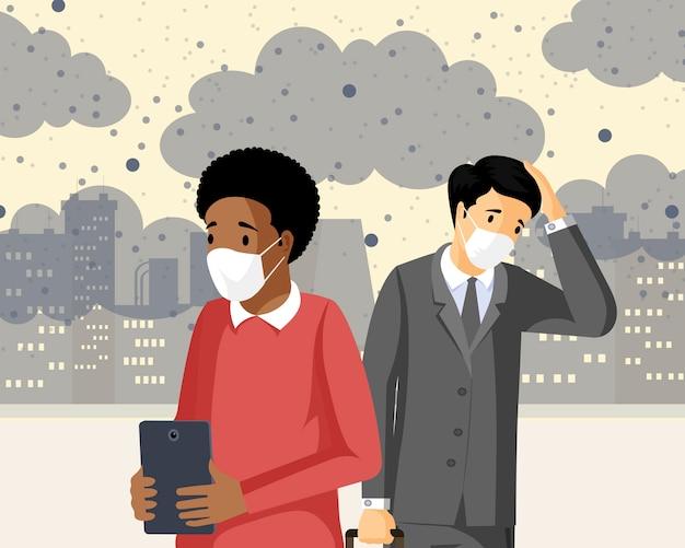 Menschen, die flache vektorillustration des smogs einatmen. industrieemissionen, co2-negativer gesundheitseinfluss, verschmutzte stadt mit gasabfällen. traurige männer, die unter giftigen schadstoffen leiden und atemprobleme haben