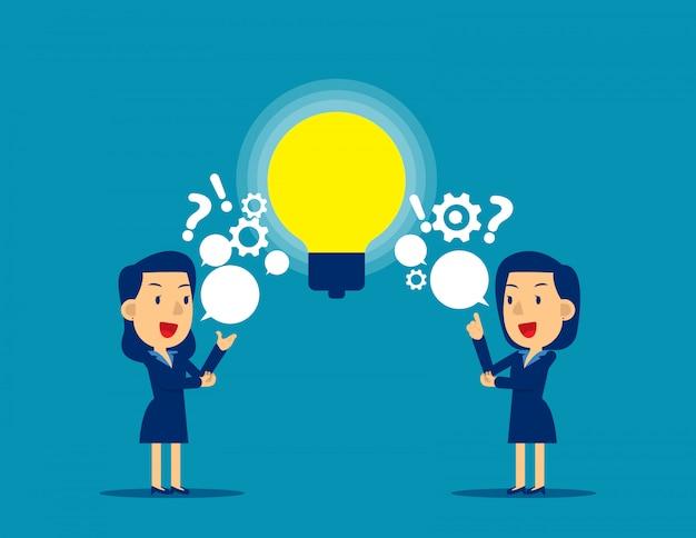 Menschen, die fragen und ideen austauschen