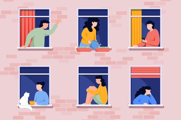 Menschen, die freizeitaktivitäten an fenstern durchführen