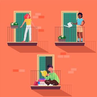 Menschen, die freizeitaktivitäten auf balkonen betreiben