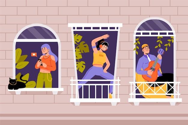 Menschen, die freizeitaktivitäten auf dem balkon machen
