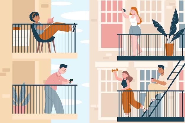 Menschen, die freizeitaktivitäten auf ihren balkonen betreiben