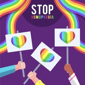 Menschen, die gegen das homophobe konzept protestieren