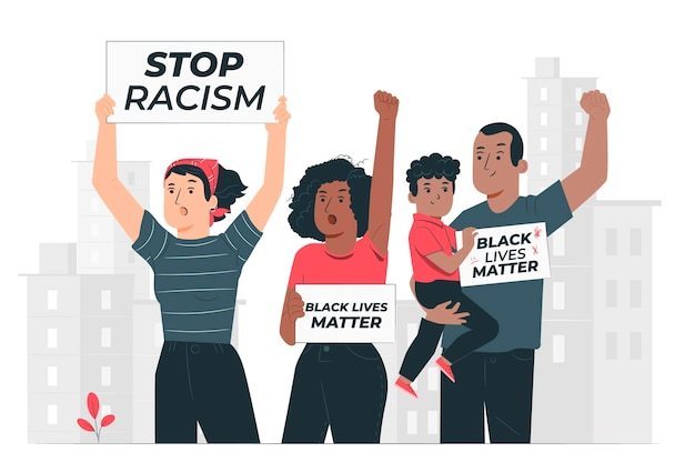 Menschen, die gegen rassismus-konzeptillustration protestieren
