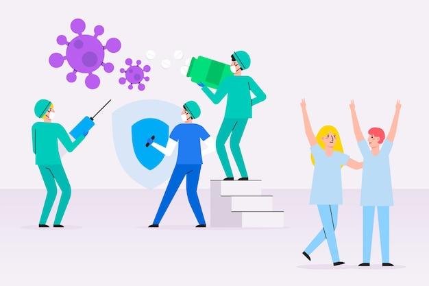 Menschen, die gegen viren kämpfen