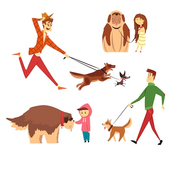 Menschen, die gehen und mit ihren hunden spielen, setzen, ute haustiere mit ihren besitzerkarikaturillustrationen auf einem weißen hintergrund