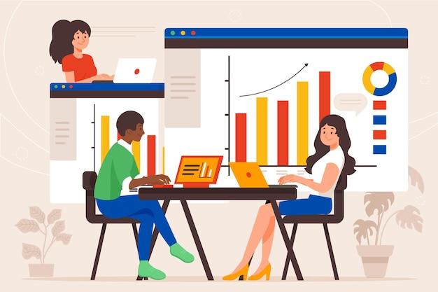 Menschen, die gemeinsam wachstumscharts analysieren