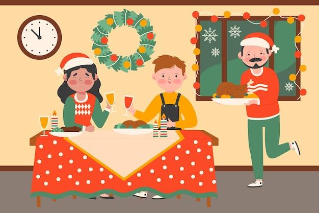 Menschen, die gemeinsam weihnachten feiern