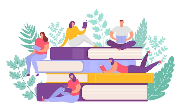 Menschen, die gerne bücher auf einem riesigen stapel bücher lesen. leser in bibliotheks- oder universitätsstudenten studieren. bildungs-, literatur- und wissenskonzept.