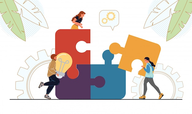 Menschen, die geschäftliche puzzleteile verbinden