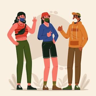 Menschen, die gesichtsmasken im freien tragen