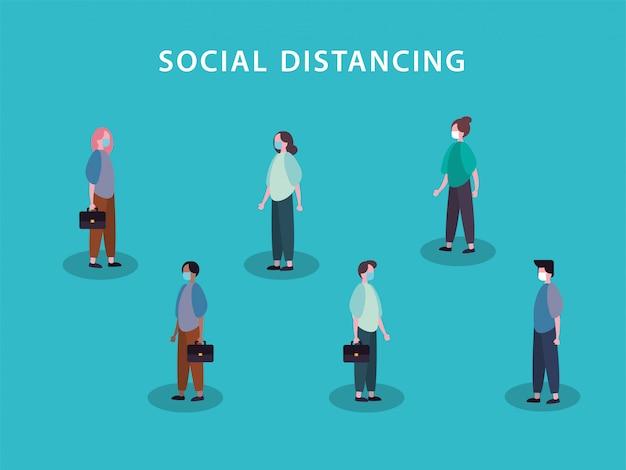 Menschen, die gesichtsmasken mit sozialer distanzierung für covid19 verwenden