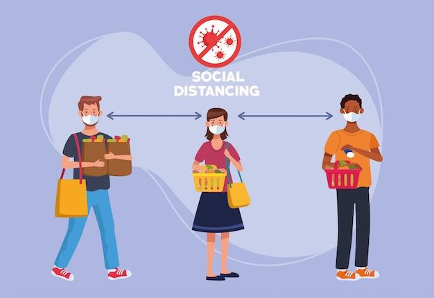 Menschen, die gesichtsmasken mit sozialer distanzierung verwenden