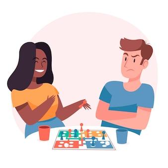 Menschen, die gewinnen und verlieren, während sie ein ludo-spiel spielen