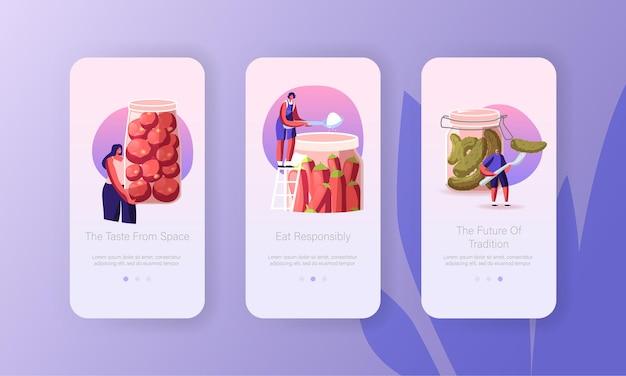 Menschen, die hausgemachte fermentierte vegane gesunde lebensmittel mobile app-seite onboard-bildschirmvorlage kochen.