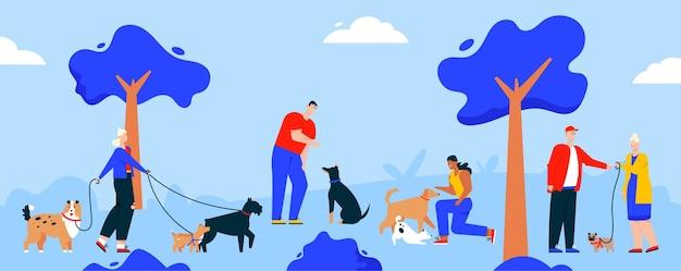 Menschen, die hunde in der parkszene gehen. vektorzeichenillustration von männern und frauen mit hunden verschiedener rassen