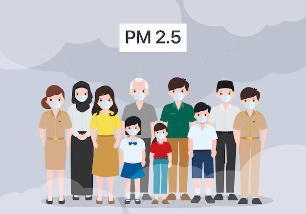 Menschen, die im freien eine schützende gesichtsmaske tragen. vektorillustration der luftverschmutzungskonzepte.