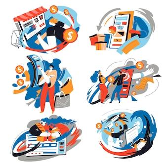 Menschen, die im internet einkaufen, indem sie online-websites und -seiten verwenden. geschäft und handel, kauf und einkauf von waren und produkten auf dem markt. persönlichkeiten mit smartphones handeln. vektor im flachen stil