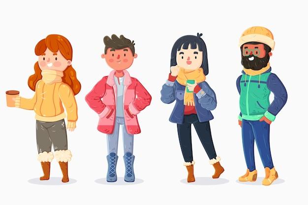 Menschen, die im winter gemütliche kleidung tragen