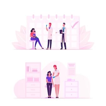 Menschen, die impfstoffe gegen viren erhalten. karikatur flache illustration
