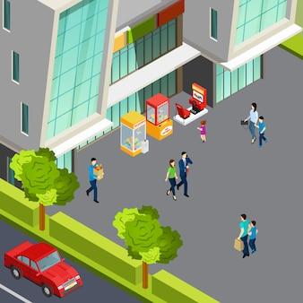 Menschen, die in der nähe des einkaufszentrums mit verschiedenen isometrischen vektorillustrationen der spielmaschinen 3d gehen