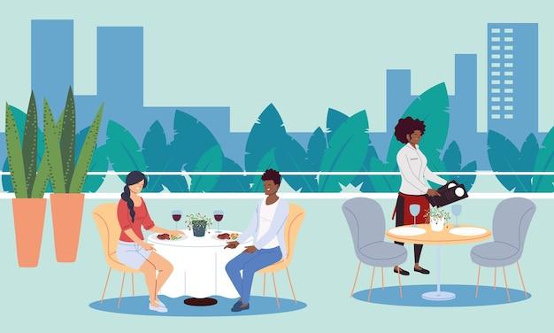 Menschen, die in einem gehobenen luxusrestaurant im freien speisen, und kellner, die das bestellillustrationsdesign nehmen